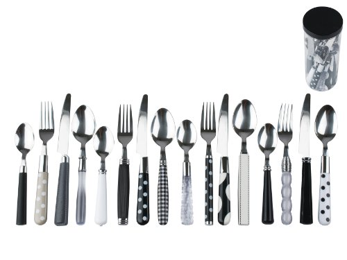 Present Time Cutlery Set Mix and Match, Black and White Assorted