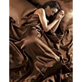 Chocolate Satin King Size Duvet Set With Fitted Sheetby Satins