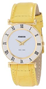Jowissa Women's J2.033.M Roma Colori 30 mm Gold PVD Yellow Leather Roman Numeral Watch