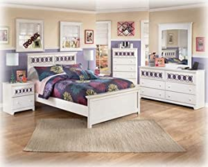 Amazon Ashley Zayley White Full Size Bed set