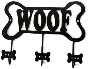 """DEI Wall Rack """"Woof"""" Bone Leash Holder, Black"""