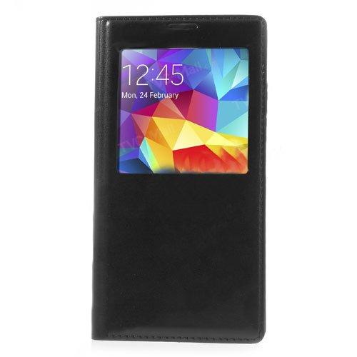 Flip Cover S View per Samsung Galaxy S5 SV I9600 G900 Custodia Case con Finestra e guarnizione impermeabile colore Nero + pellicola omaggio