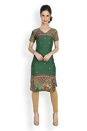 Eternal Women's Green printed crepe kurti(TDFBK_20_Green,X_Large)  available at amazon for Rs.349
