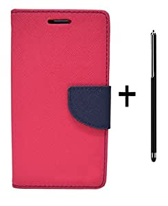 DENICELL Royal Dairy Style Flip Cover For Sony Xperia ZR (NEON PINK,STYLING TOUCH PEN)