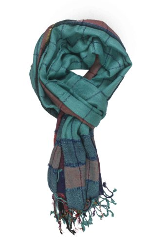 In-Sattva Colors - Stripes & Squares Multi Colored Scarf Stole Teal