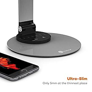 Desk Lamp, TaoTronics LED Metal Desk Lamp (Ultra-slim, Aircraft-grade Alloy, Eye-caring LED, 6 Brightness + Three Color Modes, Smart Memory Function, Smart USB Charging Port, Energy-efficient) - Silver Gray by TaoTronics