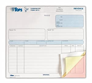 TOPS 3-Part Carbonless Invoices, 8.5 x 7.63 Inches, Ruled, 50 Sheets, White and Canary, (3813)