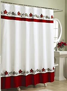 Embroidered Holly Fabric Christmas Shower Curtain Shower Curtain For Christmas