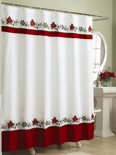 Embroidered Holly Fabric Christmas Shower Curtain Holiday