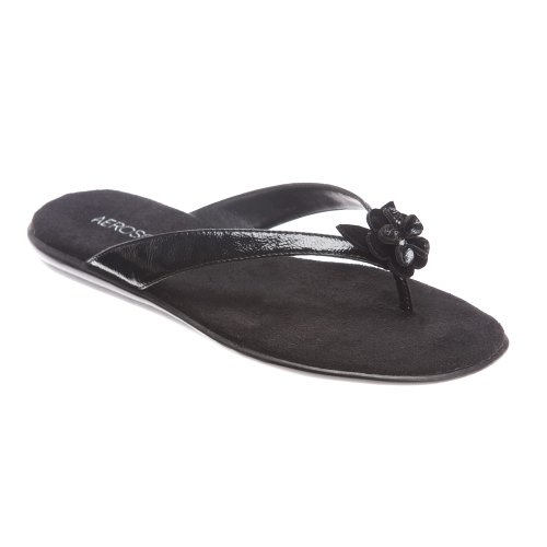 Brown Leather Flip Flops For Women front-697837