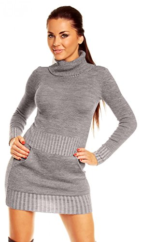 Zeta Ville - Vestito corti Abito maglia tasca frontale collo alto - Donna 178z (Grigio, IT 40/42, ONE SIZE)