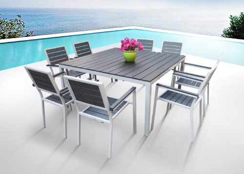 Outdoor Patio Furniture New Aluminum Resin 9-Piece Square Dining Table & Chairs Set picture