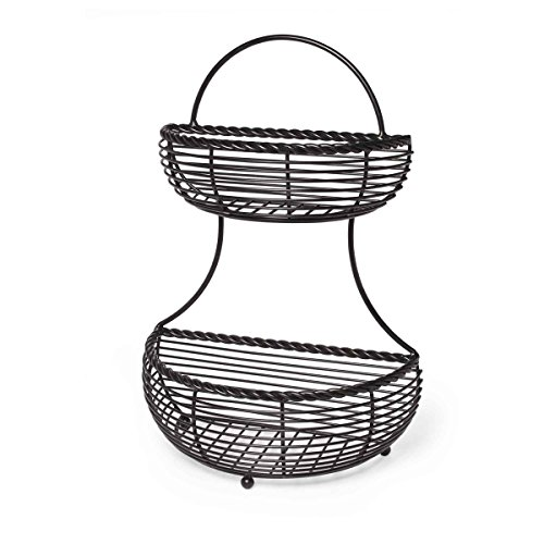 Gourmet Basics by Mikasa Rope 2-Tier Flat Back Metal Basket, Antique Black (Wall Hanging Fruit Basket compare prices)