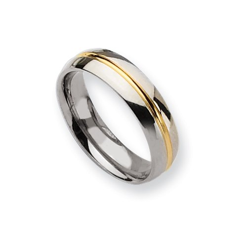 Ring 14k Gold Plated Grooved Polished Titanium Ring (6.0 Mm) - Sizes 6-13