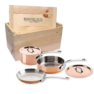 Mauviel M'Heritage M150S 6100.01WC Copper 5-Piece Cookware Set with Wooden Crate,Cast Stainless Steel Handles.