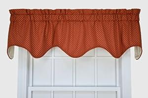 Tyvek Small Scale Diamond Lined Scallop Valance Window Curtain Rust Window