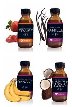 LOT 4 AROMES NATURELS : Fraise-Vanille bourbon-Banane-Noix de Coco