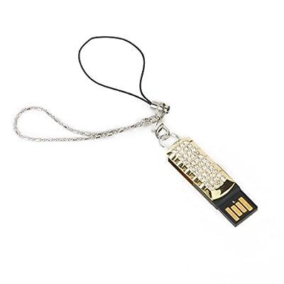 Generic 8 GB USB 2.0 Ultra Compact Glitter Rhinestone Swing Flash Memory Drive Flash Disk Pen Drive - Golden