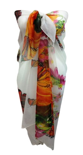 Ladies Beach Sarong Dress Wrap Swimwear Beach Cover Up Scarf Sun Dresses- Various Limited Edition Colours (Butterfly A)