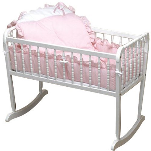 Baby Doll Bedding Pretty Pique Cradle Set, Pink