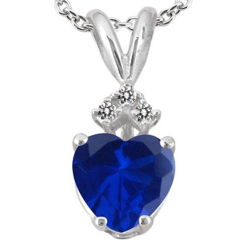 1.62 Ct Heart Shape Blue Created Sapphire White Diamond 18K White Gold Pendant
