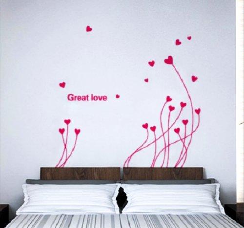 Adesivo per decorazione pareti 50x70 cm, FIORI A CUORE
