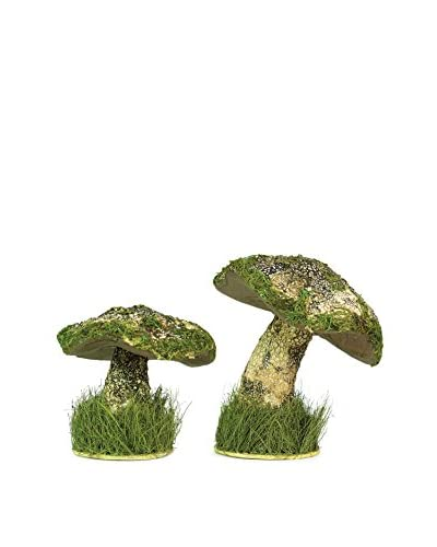 Melrose Set of 2 Decorative Mushrooms, Tan/Green