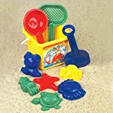 My First Little Beach Set: 10 Piece Sand & Water Play Set: Includes Shovels, Sand Molds and Bucket