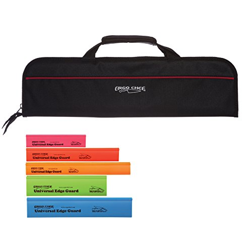 5 Pocket Chef Knife case roll bag with 5 pack edge guards
