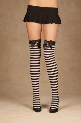 Striped Thigh Highs With Satin Bow And Handcuffs (Black/White;One Size)