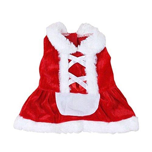 Camicia Piccolo Cane, Dog Shirt, Ouneed® Natale Dog Pet Maglione con Cappuccio Panno di Babbo Natale (R1-XS)