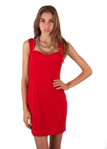 Urban Identity Women'S Lace Strap Sweetheart Neck Fitted Cocktail Dress(Drs-Evp,Red-M)