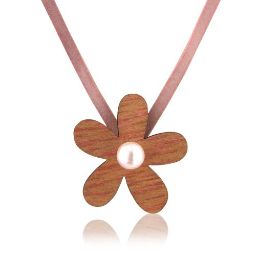 Children's wooden flower pearl necklace on pink cord with matching bracelet also available - includes pretty gift bag