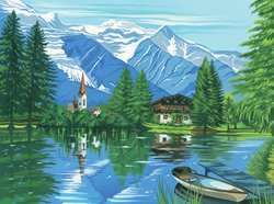 Reeves Large Painting By Numbers - Woodland Chalet