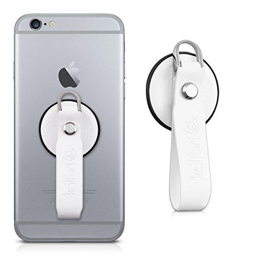 kalibri-Finger-Halterung-fr-Smartphones-in-Wei-Echtleder-Fingerschlaufe-zB-geeignet-fr-iPhone-6-Plus-Samsung-Galaxy-S7-etc