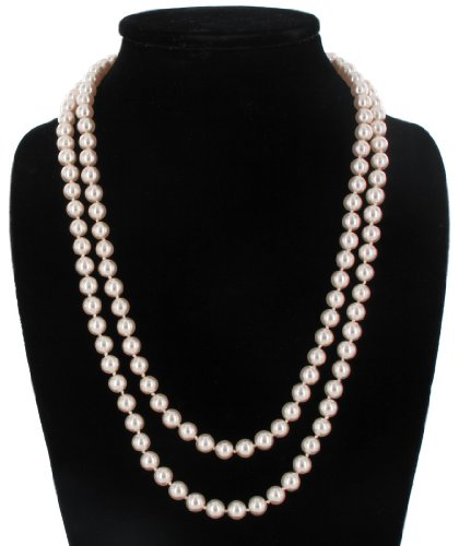Pink Glass Faux Pearl Beaded 48