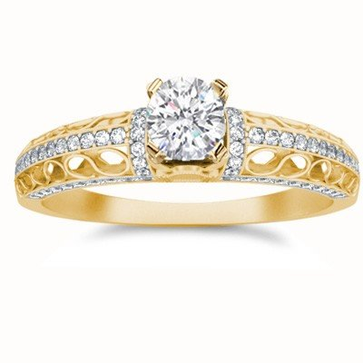 1.17 Carat Engagement Ring On Sale With Round Cut Diamond On 10K Yellow Gold