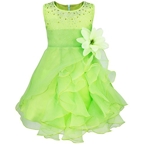 FEESHOW Baby Girls Rhinestone Organza Flower Christening Baptism Party Dress Lime Green 18-24 Months