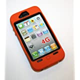 Orange/Black Iphone 4 Silicone and Hard Case... Comparable to the otterbox defender case