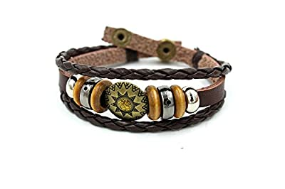 Wild Wind Tibet Amulet Plate Decorated Charm Multi-strand Braided Beads Button Adjustable Wrap Bracelet