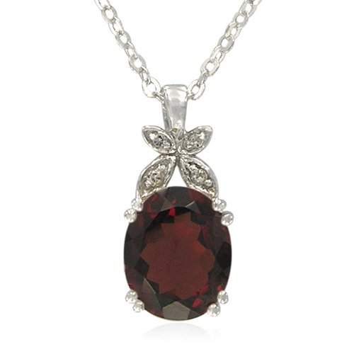 Sterling Silver Oval-Shaped Garnet with White Topaz Accent Pendant Necklace , 18.5