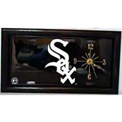 2 , Quartz Clocks, on a,  ,CHICAGO, WHITE SOX, , Metal Sign, Framed, by, Black, Wood...