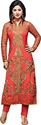 Bridal Collection Heena Khan Orrange Semi Stiched Dress Material
