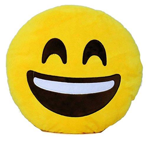 Decorative Soft Plush Stuffed Yellow Emoji Smiley Emoticon Room Decor Throw Pillows (Smile)