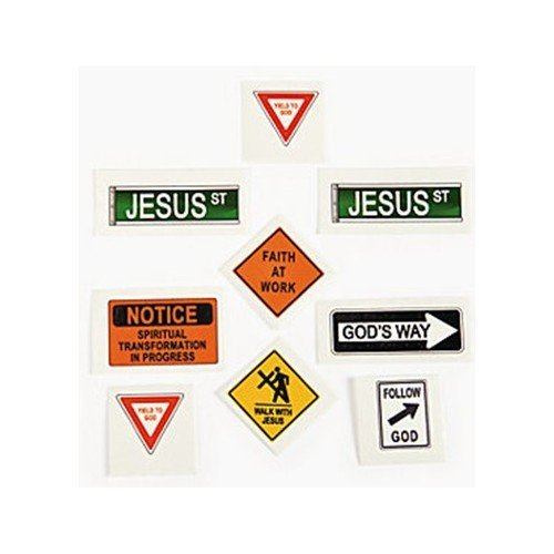 RELIGIOUS ROAD SIGN TATTOOS (6 DOZEN) - BULK - 1