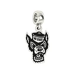 North Carolina State Wolf Pack Silver Logo Dangle Charm Fits All Pandora Style Charm Bracelets.
