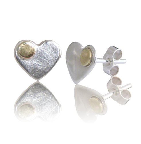 925 Sterling Silver Hearts Studs Earrings. Gold Colour, brass detail. FREE delivery UK. Gift Wrapped