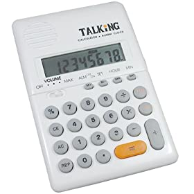 Maxi Handheld Talking Calculator with Alarm - White