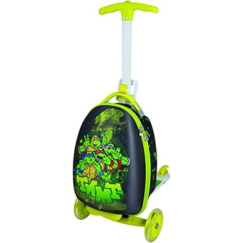 Single Piece Bright Lime Green Rolling Briefcase For Kids, Scooter Suitcase, TMNT Character Pattern, Hardsided, Lightweight, Checkpoint-Friendly, Locking, Kids' Upright Scooter Suitcase, Black (Upright Scooter compare prices)