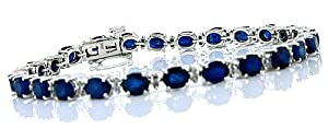 12.50 ct Genuine Sapphire and Diamond Bracelet in 14KT Gold Plated Sterling Silver
